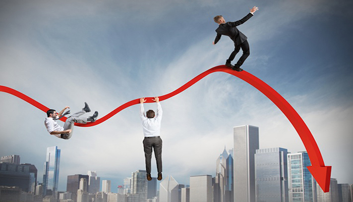 Businessmen falling down